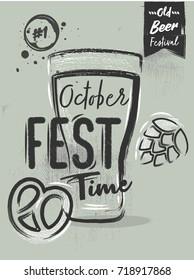 Chalk poster lettering for the festival - Oktoberfest beer time