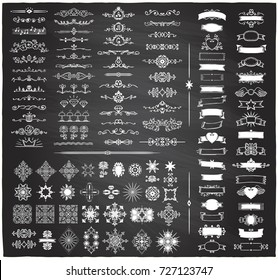 Chalk retro graphic line elements, dividers and monogram frames, ribbons set on a blackboard, hand drawn vector illustration