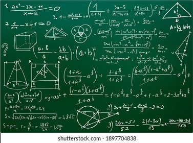 Chalk scribbles on a math board. Blackboard, formulas, shapes, geometry. The concept of education. Vector illustrations can be used to return to the school topic, algebra, natural sciences