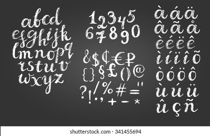 Chalk script font. Lowercase letters, digits, diacritics letters, special symbols and money signs.