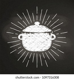 Chalk silhoutte of boiling pot  with vintage sun rays on blackboard. Good for cooking logotypes, bades, menu design or posters.