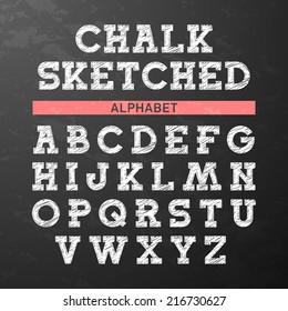 Chalk sketched font, alphabet. Vector.