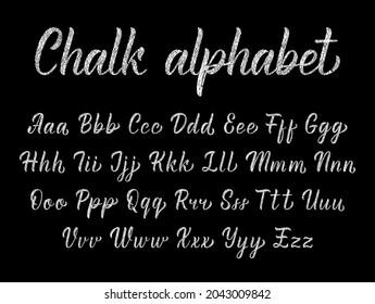 Chalk texture handwritten latin modern calligraphy brushpen alphabet. Vector illustration