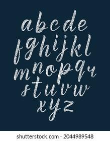 Chalk texture handwritten latin modern calligraphy brushpen alphabet of lowercase letters. Vector illustration