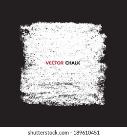 Chalk texture square banner on blackboard. Vector design elements.