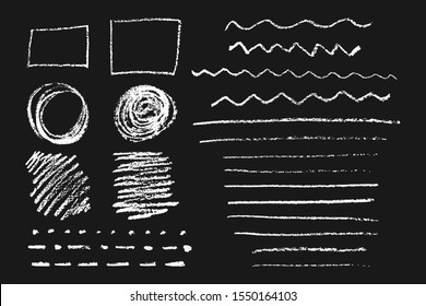 Chalk vector graphic elements. Lines, dotted lines, circles, strokes, square. The isolated objects on a dark background.
