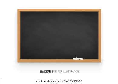 Chalkboard 3D. Realistic black blackboard in wooden frame isolated on white background.chalk on a blackboard.Rubbed out dirty chalkboard. Background for school or restaurant design, menu