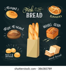 Chalkboard ADs set: bagel, ciabatta, whole grain bread, french baguette, croissant and so. Stylish bakery goods template. Vector illustration.