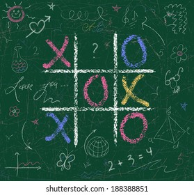 Chalkboard, all is covered with drawings. Vector sketch of tick-tack-toe game.