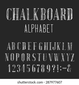 Chalkboard Alphabet Vector Font. Type letters, numbers and punctuation marks. Distressed chalk vector serif font on the dark background. Hand drawn letters.