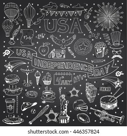 Chalkboard with American Independence Day themed in the doodle style. National symbols of Fourth of July.