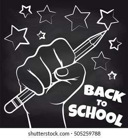 Chalkboard back to scool sketch with hand and pencil. Vector illustration