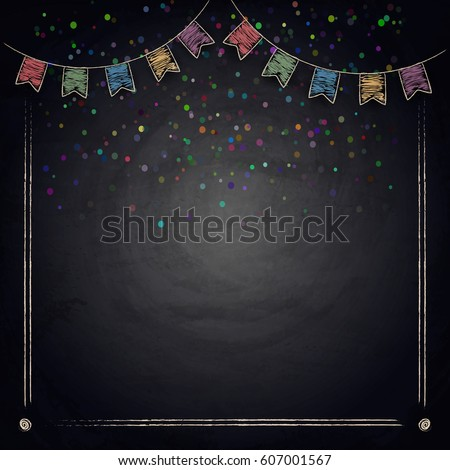 chalkboard background drawing bunting flags vector stock vector