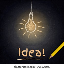 Chalkboard background with drawing lamp. Idea concept. Vector illustration