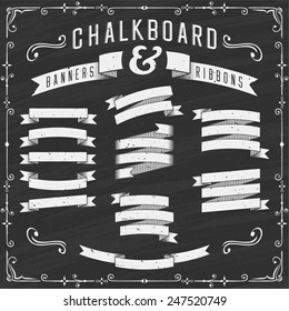 Chalkboard Banners, Ribbons and Design Elements - Illustration. Chalkboard design elements. Each element is grouped in a separate layer. No gradients, no transparency effects.