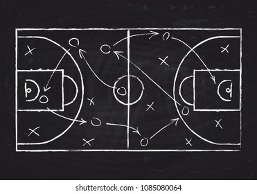 Chalkboard with basketball court and game strategy scheme. Vector illustration. Sport instruction blueprint, marking for play team
