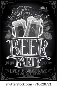 Chalkboard beer party poster, copy space for text