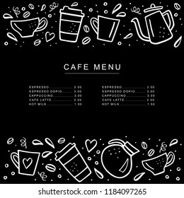 Chalkboard cafe menu with coffee cups and coffee pods in doodle style. Handdrawn vector illustration.