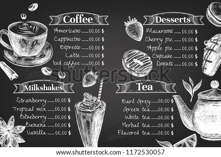 chalkboard cafe menu design design template stock vector royalty