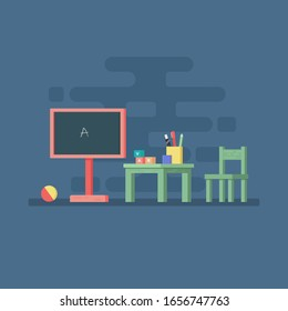 chalkboard with chair and book flat vector illustration