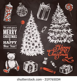 Chalkboard chrismas set with hand drawn pine tree sweets and gift boxes isolated vector illustration
