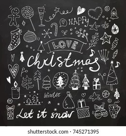 Chalkboard Christmas and New Year doodles collection