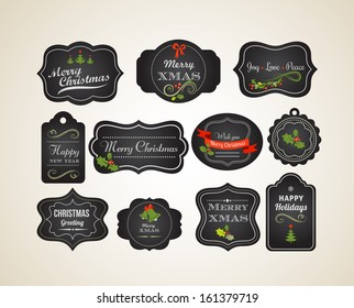Chalkboard Christmas vintage invitation and labels