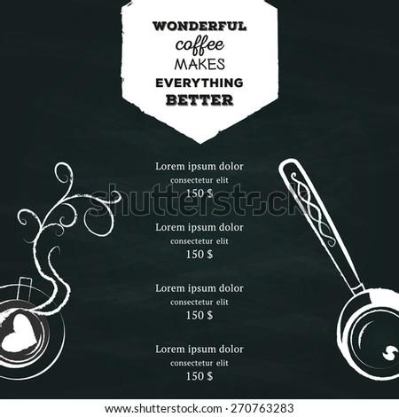 chalkboard coffee flyer menu template flyer stock vector royalty