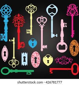 Chalkboard Colorful Vintage Keys Silhouette