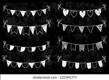 Chalkboard doodle bunting with flags, triangles and hearts for wedding designs, bridal showers invitation and greeting cards