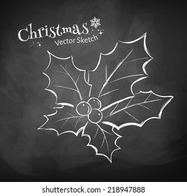 Chalkboard drawing of Christmas holly. Vector illustration. Isolated.