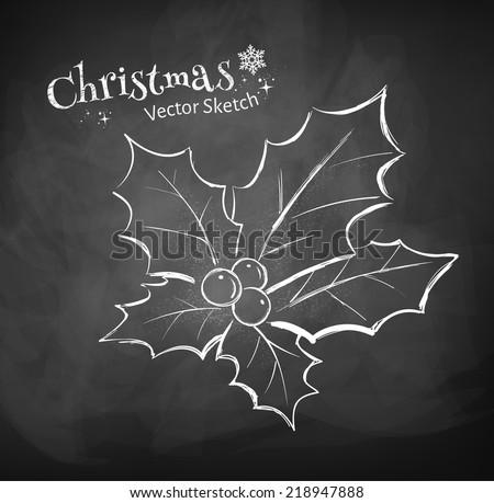 Chalkboard Drawing Christmas Holly Vector Illustration Stock Vector