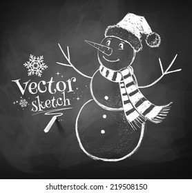 Chalkboard drawing of cute snowman. Vector illustration. Isolated.