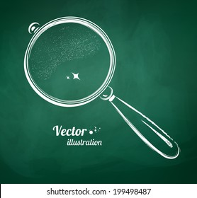 Chalkboard drawing of magnifying glass. Vector illustration. Isolated.