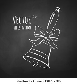 Chalkboard drawing of school bell with a bow. Vector illustration. Isolated.
