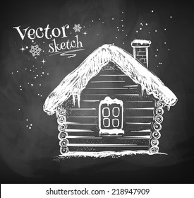 Chalkboard drawing of winter house. Vector illustration.