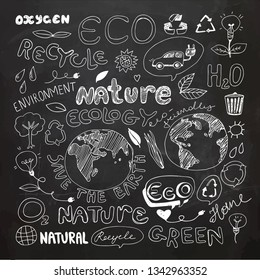 Chalkboard Eco Recycle Reuse Ecology Nature Doodle. Icons Sketch. Hand Drawn Design Vector. Freehand Drawing.