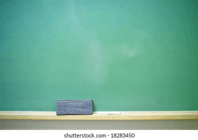 Chalkboard with eraser and chalk, horizontal. VECTOR.