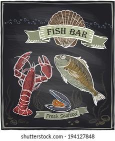 Chalkboard fish bar. Eps10