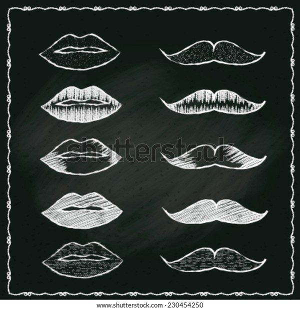 chalkboard of hand drawing of whiskers of man and lips of woman, vector illustration.