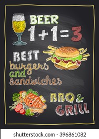 Chalkboard hand drawn menu sign with beer, burger and grilled salmon fish