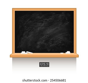 Chalkboard isolated on white wall. Vector illustration. Texture background, wood, wooden frame. Piece of chalk