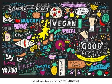 Chalkboard Kitchen Art, Blackboard Lettering Wall Art, Kitchen Chalkboard Sign. Cafe template design. Restaurant wall typography. Vector food chalk.
