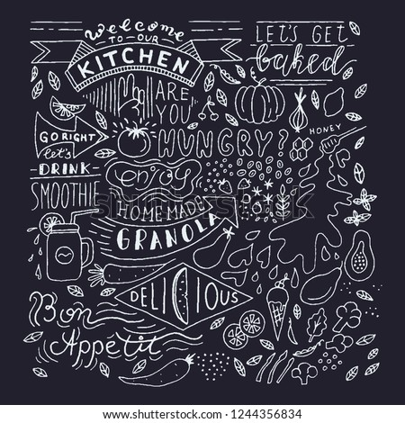 Chalkboard Kitchen Art Blackboard Lettering Wall Sign Cafe Template Design