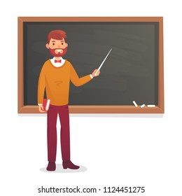 Chalkboard and male professor. College class or university teacher teach at old blackboard in classroom. Academic physics class board teaching of english sociology math cartoon vector illustration