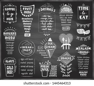 Chalkboard menu for cafe or restaurant - coffee, fruit menu, burgers, cold beer, breakfast and dinner menu, fresh juice, snacks, salad menu and ice cream, etc.