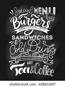 Chalkboard menu for fast food. Hand drawn chalk menu with grunge elements. Cafe restaurant menu with modern lettering.