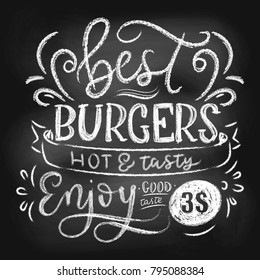 Chalkboard menu for fast food. Hand drawn chalk burgers menu with grunge elements. Retro fast food menu with modern lettering. Best burgers retro poster. Vector illustration.