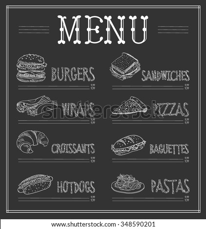 chalkboard menu template monochrome vector illustration stock vector