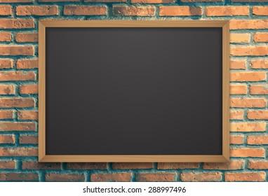 Chalkboard on brick wall.vector